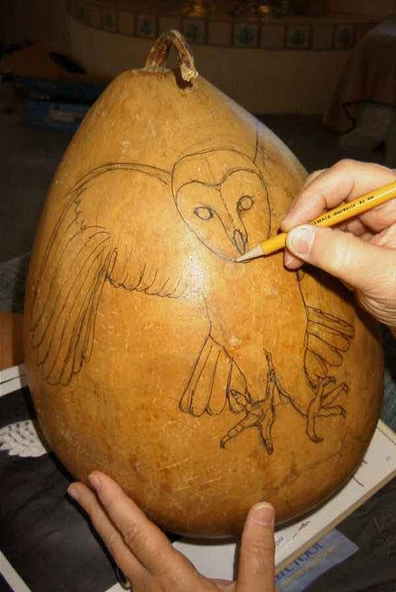 Carved and painted gourd owl tutorial a craft gourds