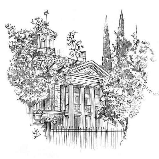 Pro Artist Ken Christiansen Sketch Of Haunted Mansion Halloween