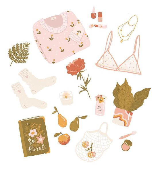 Girly stuff, illustration by Inna Moreva @inna.moreva