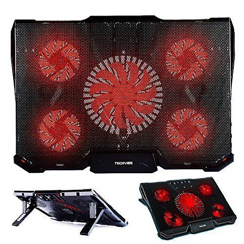 Gaming Cooling Pad 12 17 Laptop Cooler 5 Quiet Led Fans