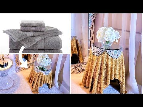 How To Turn Towels Into Glam Side Tables Home Decor Ideas 2019 Sunroom Decor Youtube Sunroom Decorating Glam Side Table Diy Wall Art Decor