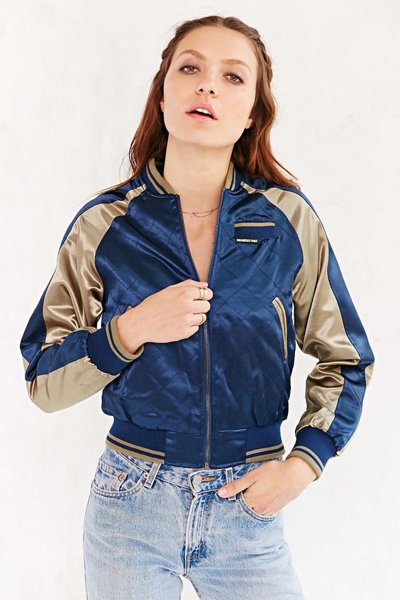 Members Only Satin Bomber Jacket | Urban outfitters Bomber