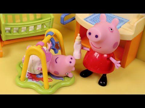 Peppa Pig Juguetes en Español Peppa cuida del bebe George - YouTube