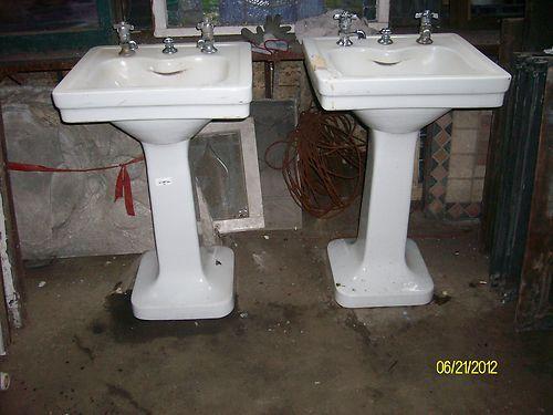 1920 Pedestal Sink : Durock Maddock 1920s Porcelain Pedestal Sinks Petite Size 2 Available ...