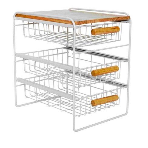 Steel Kitchen Organizer 3 Mesh Basket