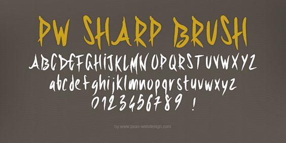 New free font 'PWSharpBrush' by Peax Webdesign · Free for personal use · #freefont #font #freefont
