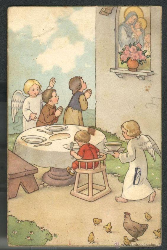 NIÑOS Y ANGELES (Postales - Religiosas y Recordatorios)