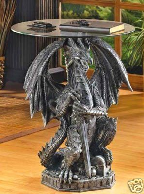 """LARGE 24"""" dragon statue Gothic medieval thrones glass top end table night stand"""