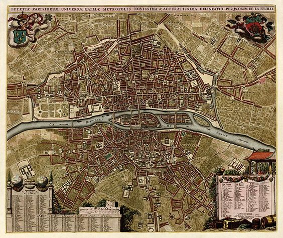 Antique Map of Paris, France from c1710