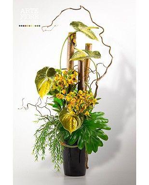 Composizione di fiori artificiali con Anthurium e Canne  Composizioni florea...