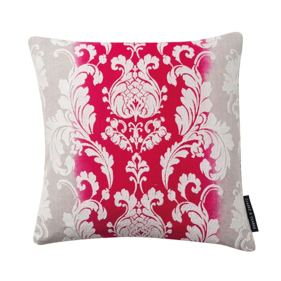 Camelia Damask Fuchsia Square Cushion