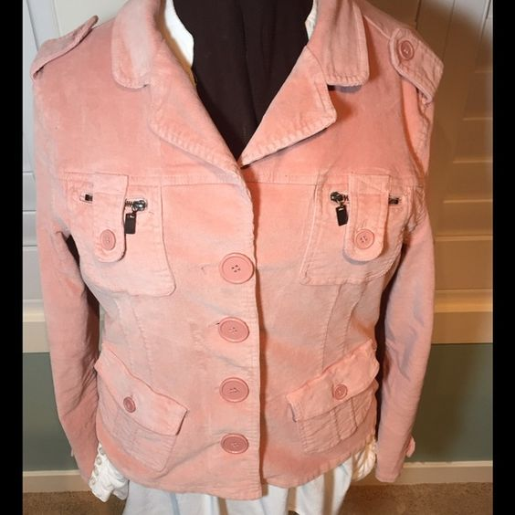 Star Jeans pink corduroy military style jacket Super cute pink corduroy stretch military style jacket. Lots of stretch for comfort! Super stylish, it's casual and has lots of details! Star Jeans Jackets & Coats Blazers