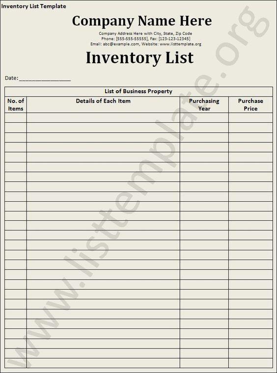 InventoryListTemplate Craft Ideas Pinterest – Inventory Checklist Template