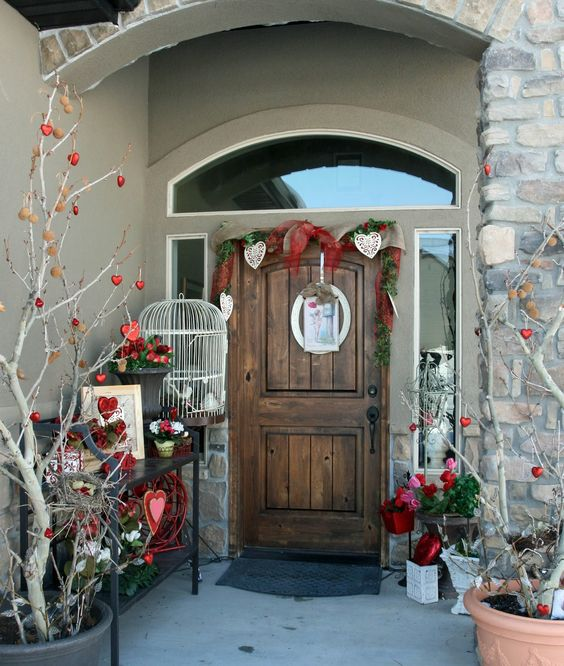 Take Your Door Entry Way To The Next Level For The Valentine S Day S Valentines Outdoor Decorations Valentine Decorations Front Porch Christmas Decor