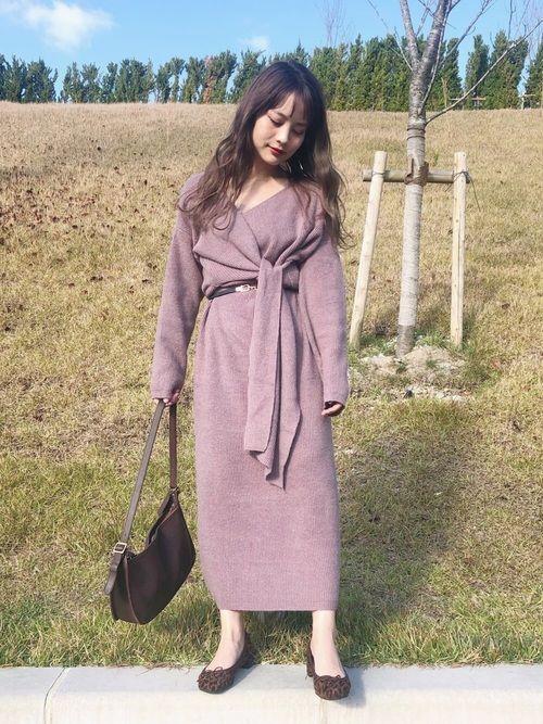 安中亜美 ワンピースを使ったコーディネート wear ワンピース ニットワンピ ファッション