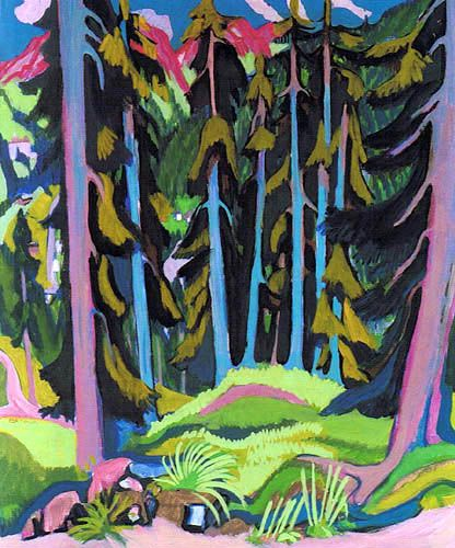 Ernst Ludwig Kirchner - Landscape in a Forest with Stream