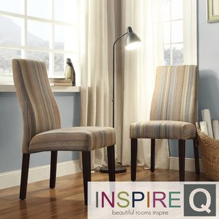 Inspire Q Kiess Seamless Stripe Print Wave Back Parson Chairs (Set of 2)
