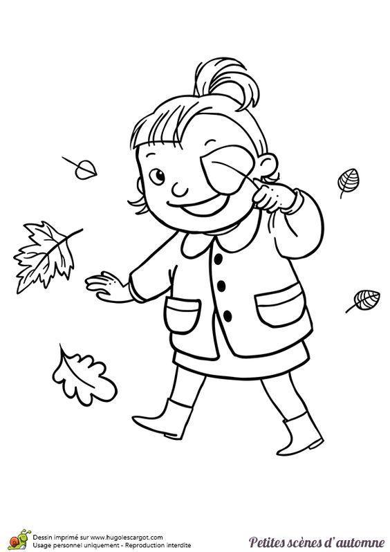 Dessin d une petite fille entrain de jouer avec une - Dessin feuille morte ...