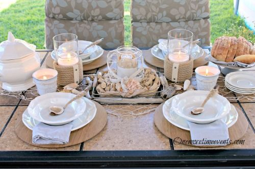 tablescape beachy nauticall outdoor, outdoor living