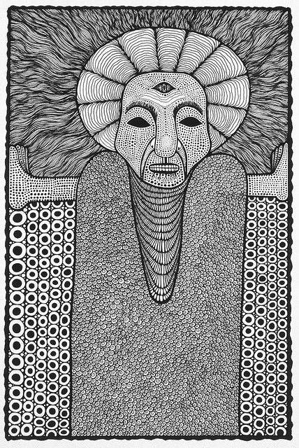 https://flic.kr/p/454aj8 | Spirit Guide | Artist: Damian Michaels Title: Spirit Guide Medium: Ink on paper Size: A3 Collection of Felix Tuszynski, Australia