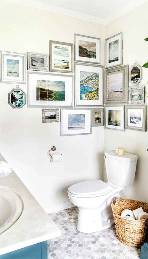 Corner Gallery Wall In 2020 Corner Gallery Wall Bathroom Wall Decor Home Decor