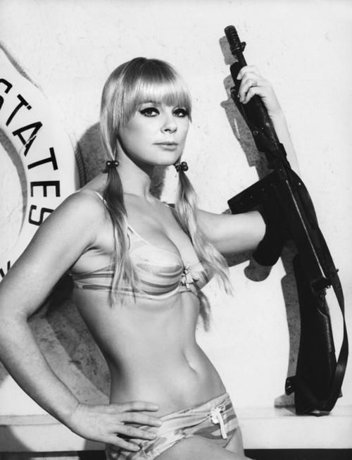 Sexy tommy gun woman, topless black galleries