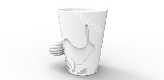 Model 2050_003 - #VandeviseGoesLive #Rabbit #Mug #HomeDecor Available in: #Ceramic #Plastic #3DPrinting