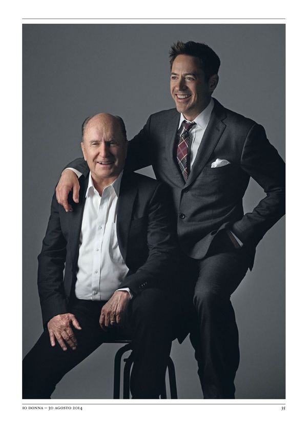 """Robert Duvall and Robert Downey Jr., in """"The Judge,"""" Io Donna magazine (Italy), August 30, 2014"""