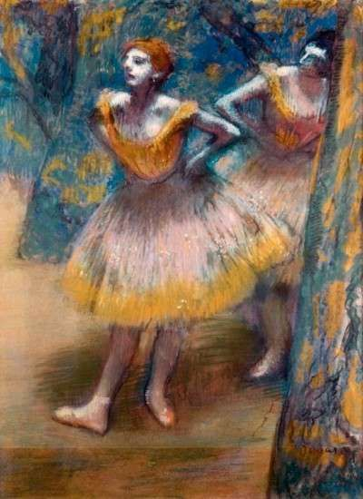 Hilaire-Germain-Edgar Degas's Two Dancers (1890) is a pastel on cream woven paper, pieced and laid down on board (27-3/4x21-1/8 inches), which is in the possession of The Art Institute of Chicago.