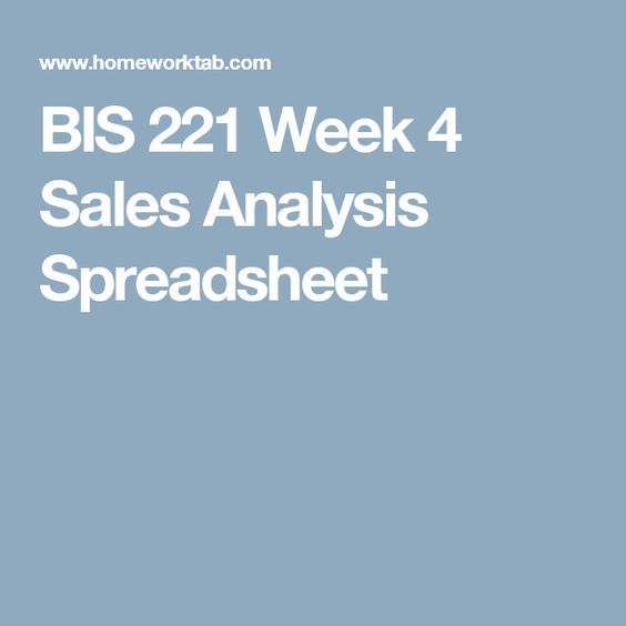 Bis  Week  Sales Analysis Spreadsheet  Uop Bis