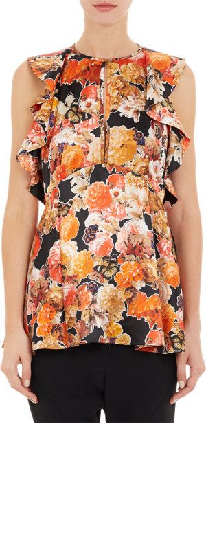 Givenchy Floral Butterfly Peplum Top at Barneys.com