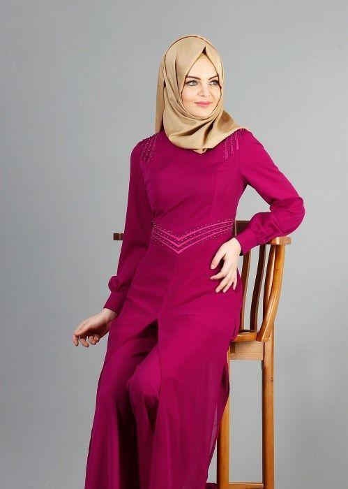 T 52413 Fy Collection Boncuk Islemeli Pantolonlu Abiye Tulum Fusya Trend T Tesettur Abiye Modelleri 2020 2020 Kiyafet Giyim Trendler