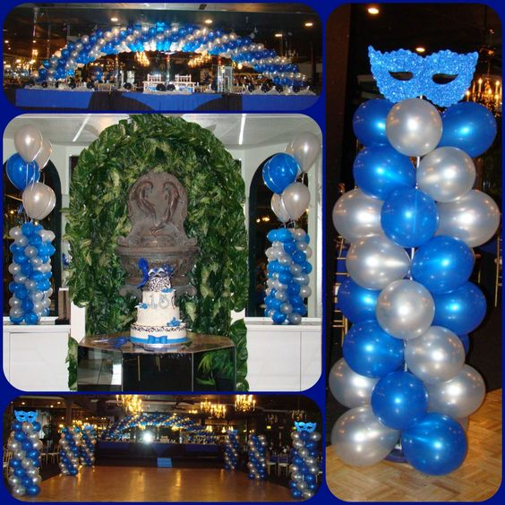Quincea era balloon decorations masquerade theme royal for Balloon decoration ideas for a quinceanera