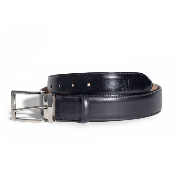 Onyx/Satin Silver Belt | DONUM Men's Footwear & Accessories