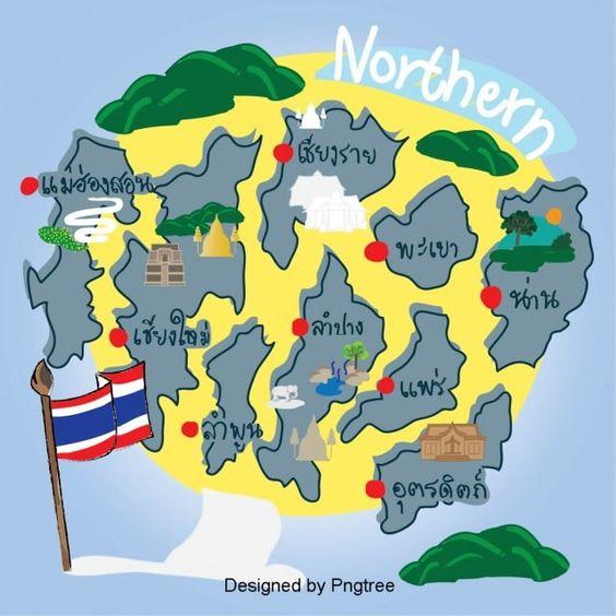 แผนท ประเทศไทย ภาคเหน อ ส เหล องเทา เวกเตอร และ ว สด Png ภาพประกอบ โปสเตอร สถานท ท องเท ยวสไตล ว นเทจ โปสเตอร กราฟ กด ไซน