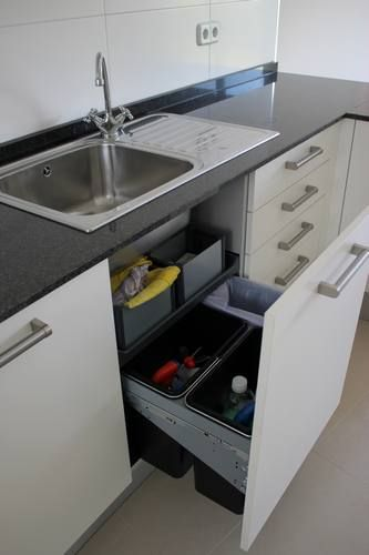 Under sink cabinets and sinks on pinterest for Modelos de cocinas modernas