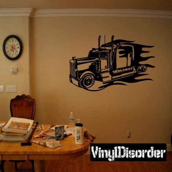 Semi Truck Wall Decal - Vinyl Decal - Car Decal - DC 030