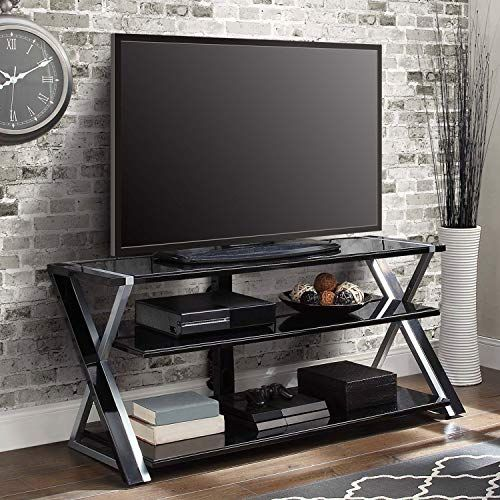 Black Silver Flat Screen Tv Stand Console 70 Inch Storage Media Tv
