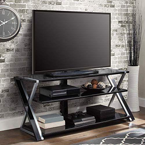 Black Silver Flat Screen Tv Stand Console 70 Inch Storage Media Tv
