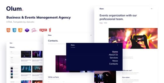 Olum Business Events Management Agency Html Template In 2020 Event Management Business Events Templates