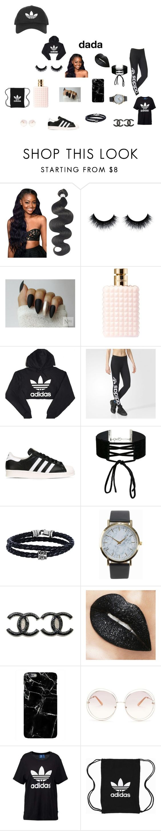 """""""adidas outfit dada aye"""" by teshonalee ❤ liked on Polyvore featuring Valentino, adidas, adidas Originals, Miss Selfridge, Phillip Gavriel, NLY Accessories, Chanel, Chloé and Topshop"""