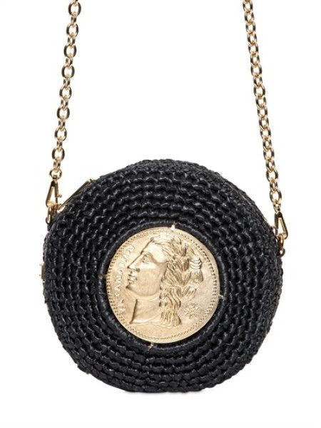 Dolce & Gabbana Black Braided Raffia Miss Glam Shoulder Bag