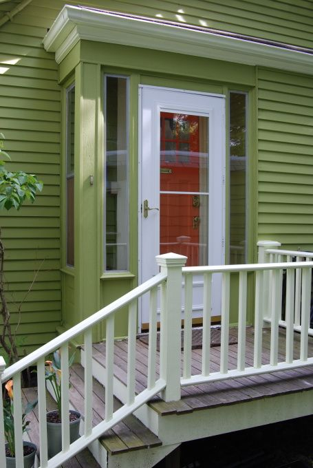 Wood Side Porch ~ Concrete steps spaces and small porches on pinterest
