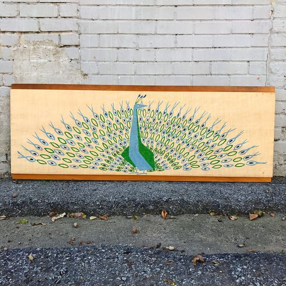 Peter Pepper Products vintage mid century Peacock on canvas on walnut. Wall art