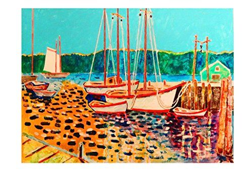 Fishing Boats at Mystic  Wayne Ensrud's art celebrating the joy of life has an international following of collectors who delight in his wit, uplifting colors and dramatic flair. These limited edition prints include landscapes, seascapes, figures, wine related and whimsical subjects which are an affordable option for the first time art buyer, passionate art collectors or for those simply looking for unique gifts. Whether it's an idyllic seaside scene or a Bacchus character indulging i..