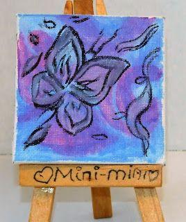 Dessin et Peinture: Papillon violet et bleu