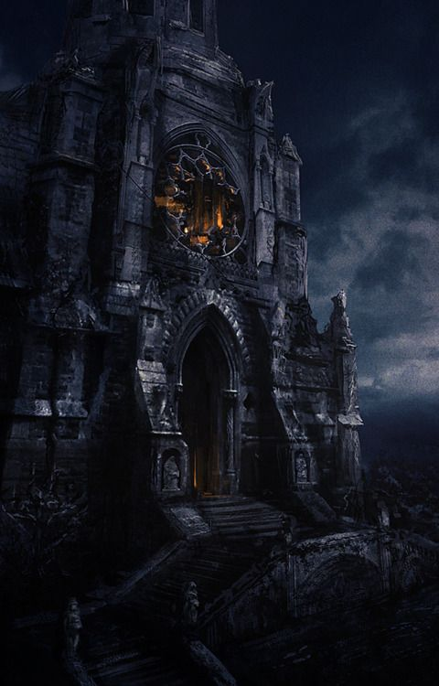 Gothic era castle of vampires: