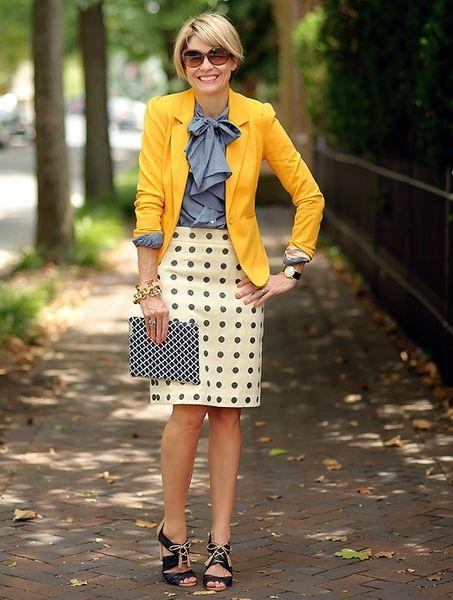Yellow blazer over light blue shirt with cream polka dot skirt..cheery!: