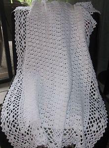 """Crochet, Cotton Heirloom Baby Blanket 45""""x33"""""""