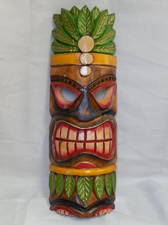 Home decor painted wood tiki mask measures 19 5 x 6 for Tiki home decor